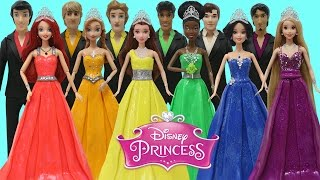 Play Doh Disney Prince & Princess Anna Tiana Belle Ariel Rapunzel Snow White Prom Costumes