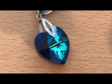 ZCCO Damen Halskette mit Blauem herzförmigen Kristall Anhänger 925 Sterling Silber
