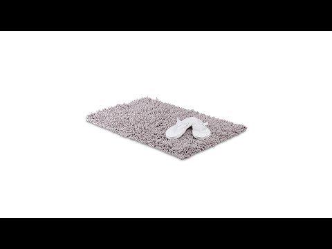 Badematte grau Shaggy klein