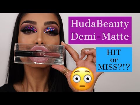 NEW HUDA BEAUTY DEMI MATTE cream lipstick review and swatches!!