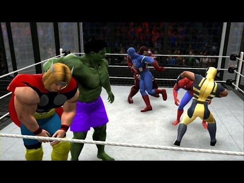 Download WWE 2K14 - Spiderman Vs Hulk Vs Thor Vs Iron Man Vs Wolverine Vs Captain America (Marvel Brawl) HD Mp4 3GP Video and MP3