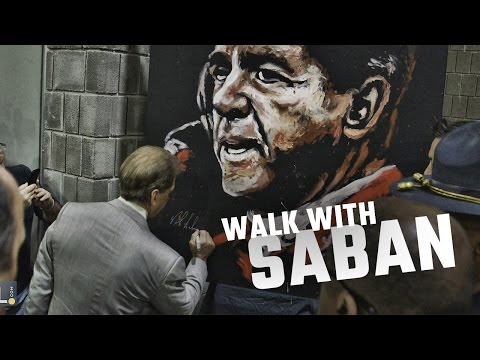 Watch as Nick Saban enters the Georgia Dome through a wild crowd