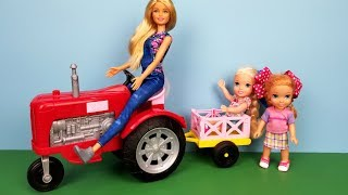 At the farm! Elsa and Anna toddlers camping - tent - Barbie is the farmer - shopping