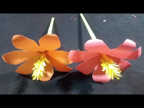 how to make paper stick flower - Making Paper Flowers Step by Step -sk crafts
