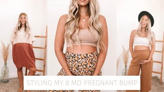 styling my 8 month pregnant bump | simple summer looks!