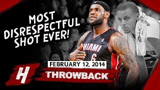 LeBron James MOST DISRESPECTFUL CLUTCH SHOT EVER Vs Warriors 2014.02.12   36 Pts, Curry SHOCKED!