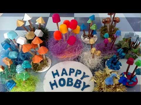 Mini kleine Pilze aus Gips und Stöckchen mit Pralinen- und Eiswürfelformen, DIY