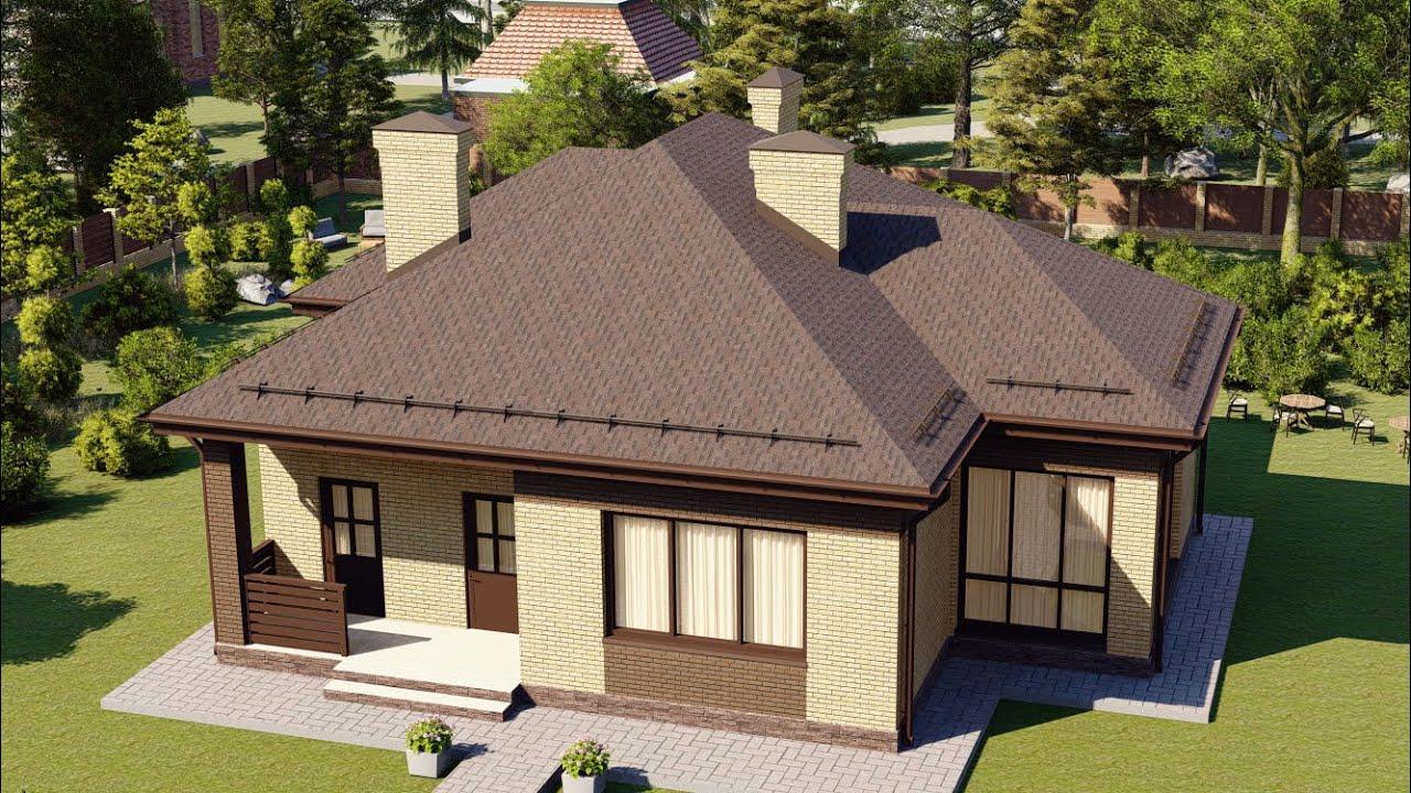 Проект одноэтажного дома из газобетона 135 кв м