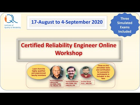 Certified Reliability Engineer Workshop 17Aug-4Sept20: Prepare for ...