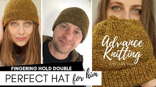 Pefect Hat for him -  Advance Knitting Chat - Top Down Hat  knit by knittingILove