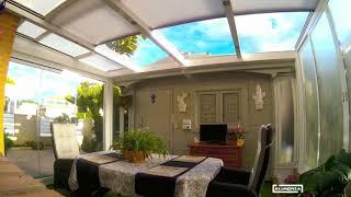 Techo motorizado y Cortina de cristal / Motorized roof and Frameless glass doors Aluminia Sistemas