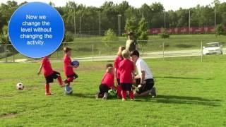 U6 soccer model training session