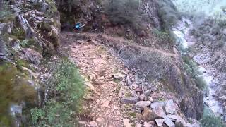 Riding the narrow trail along the South Yuba river