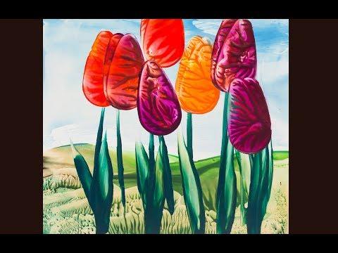 Encausticmalerei Tulpen
