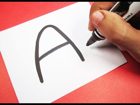 """How to turn Letter """"A"""" into a Cartoon WHITE ANGRY BIRD ! Fun with Alphabets Drawing for kids"""