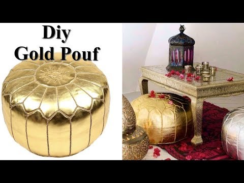 DIY GOLD POUF - INEXPENSIVE HOME DECOR GIFT IDEA  DIY POUF SEAT