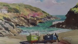 Watercolour step by step painting Portloe Cornwall. Learn to paint boats