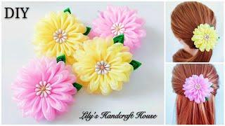 DIY Handmade Organza Flower Hair Scrunchy/hairbow/手作/Flor De Fita: Lilys Handcraft House