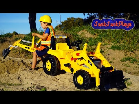 Download Backhoe Ride On Tractor Surprise Toy Unboxing, Kids Playing with Construction Trucks Mp4 HD Video and MP3
