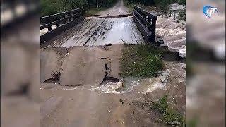 Из-за ливней в Новгородской области на нескольких участках разрушилось дорожное покрытие