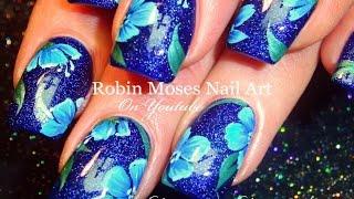 Blue Flower Nails   Navy Floral Nail Art Design Tutorial
