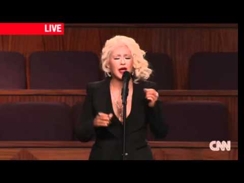 Christina Aguilera At Etta James Funeral - Landrymendes