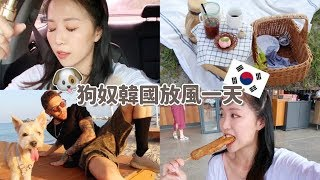 [韓國VLOG] 狗奴一天怎麼過?! 帶만두去束草瘋跑! 超美海灘CAFE! 夏日晨間保養?  [合作] |Lizzy Daily