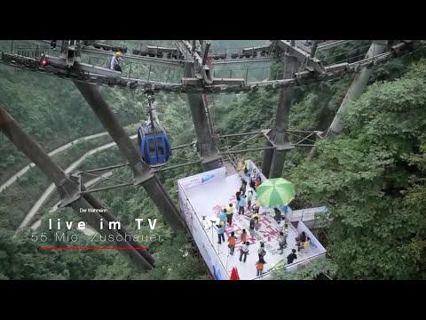 Freddy Nock - High Wire Record - Tianmen Mountain China 2014 HD