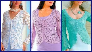 trendy fashion Knitted Crocheting lace top Bolero vest open blouse /pull over open blouse designs