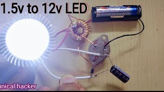 How to make 1.5v to 12v LED bulb Inverter - DIY