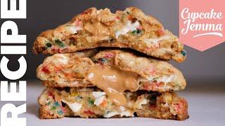 Birthday Cake NEW YORK COOKIES With White Chocolate & Rainbow Sprinkles | #NYCookies | Cupcake Jemma