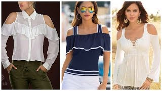 Top 40 Cotton Designer Off Shoulder Blouse With Net Lace Decorated And Crochet Lace Top And Shirts