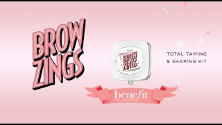 This pocket sized compact includes everything you need to tame and shape brows! Brow Zings Tame & Shape Kit includes a custom, extendable dual ended brush, mini slant tweezers, and perfectly paired wax and powder for all your on-the-go brow needs.  Show Brow Zings here: https://www.benefitcosmetics.com/us/en/product/brow-zings-new  http://www.benefitcosmetics.com  Subscribe for more Tips & Tricks: http://bit.ly/Utd37q