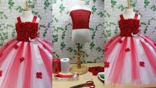 Red & White Flower Girl Tutu Dress Tutorial 0092store