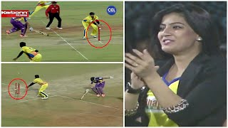 Varalaxmi Sarathkumar Cheering Tamil Star Vishal as He does a Runout Chennai vs Kolkatta CCL Cricket