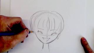 How To Draw A Manga Girl Smiling - Step By Step