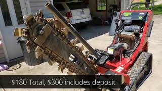 """How to Dig a Trench - Home Depot 36"""" Trencher - 300 ft in 1/2 hour - Use and Review"""