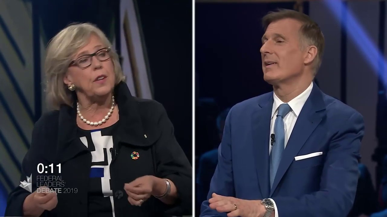 Elizabeth May debates household debt with Maxime Bernier