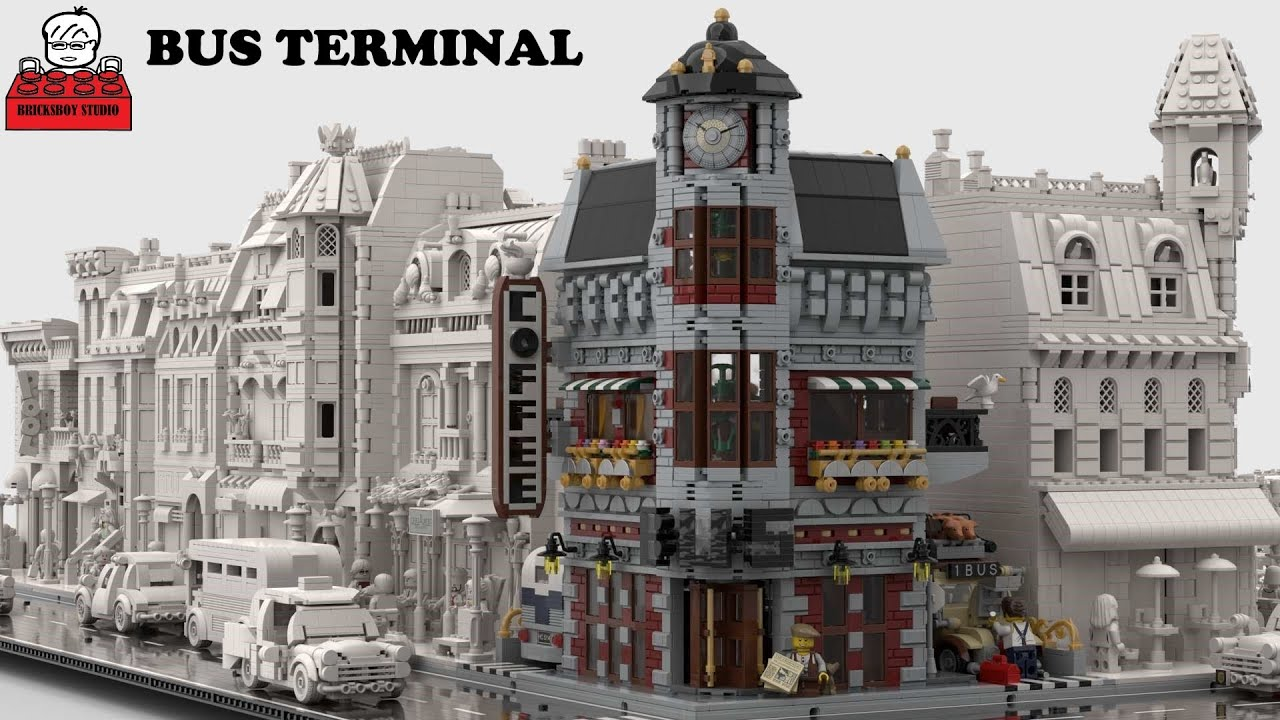 LEGO MOC #59 Bus Terminal with Coffee Shop Modular Building (Please support it on LEGO Idea)