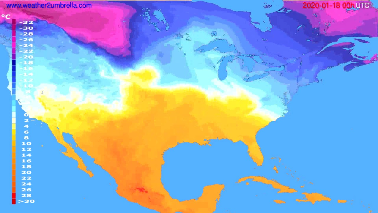 Temperature forecast USA & Canada // modelrun: 00h UTC 2020-01-17