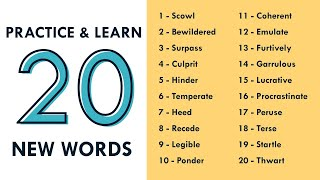 Practice and Learn 20 New Words - Vocabulary Quiz