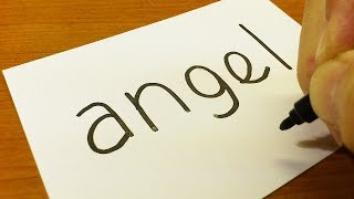 Very Easy ! How to turn words ANGEL into a Cartoon for kids -  How to draw doodle art on paper
