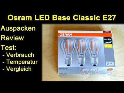 Osram Base Classic Filament LED E27 entspr. 60W Lampen - Auspacken und Vergleiche