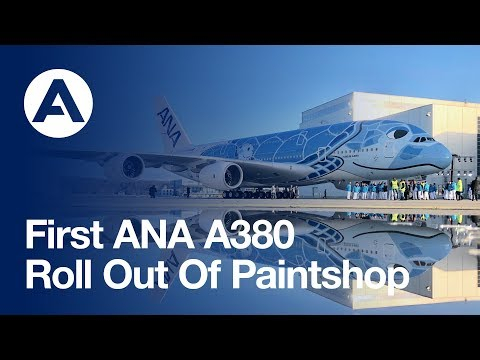 First ANA A380 rolls-out of Airbus Paintshop with unique livery (видео)