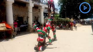 Lamu Acrobats Group performs during Mashujaa Day celebrations