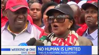 Senator Gideon Moi and CS Amina Mohamed congratulates Eliud Kipchoge for showing no human is limited