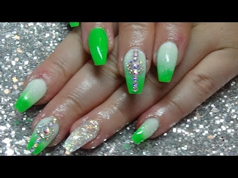 Funky Neon Green Acrylic Ombre Nails