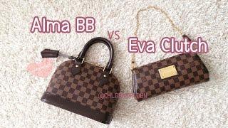 Louis Vuitton Alma BB VS Eva Clutch In Damier Ebene, Comparison
