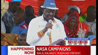 Raila Odinga leads an excited crowd in campaigns at Jacaranda grounds-Nairobi