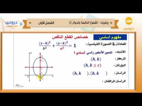 الثالث الثانوي | الفصل الدراسي الأول 1438 | رياضيات | القطوع الناقصة والدوائر 1